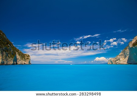 Navagio beach on Zakynthos island, Greece, summer day - stock photo