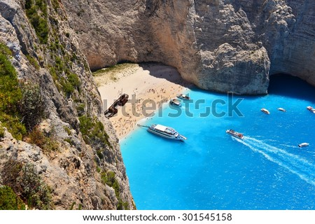 Navagio Beach on Zakynthos Island in Greece - stock photo