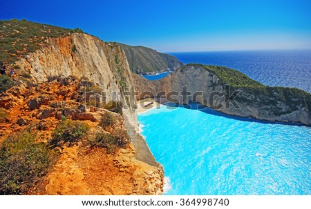 Navagio Beach - Shipwreck beach on Zakynthos Island in Greece - stock photo
