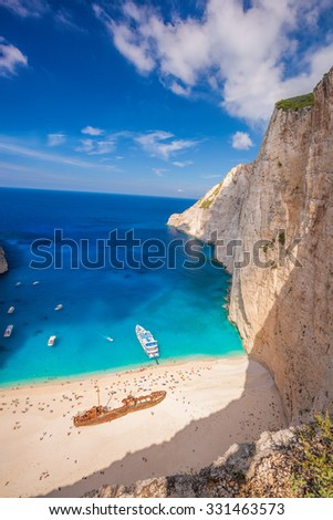 Navagio beach with shipwreck against azure sea on Zakynthos island in Greece