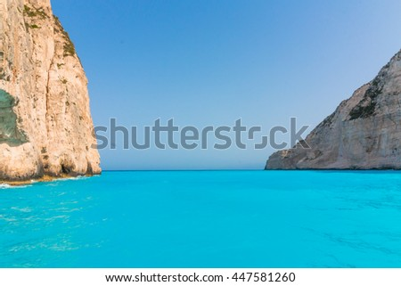 Navagio Beach with shipwreck in Zakynthos, Greece - stock photo