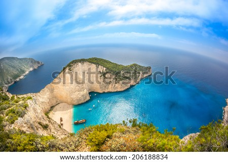 Navagio Shipwreck beach - One of the most famous beach in the world Zakynthos Island, Greece - stock photo
