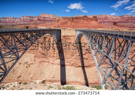 Navajo Bridge, Route 89a, Arizona.  bridge on right built 1928