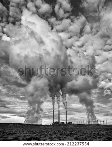 Navajo Generating Station is a coal-fired power plant located on the Navajo Indian Reservation near Page, Arizona - stock photo