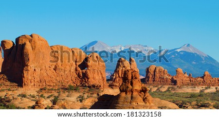 Navajo Sandstone monoliths with the La Sal Mountains in background in Arches National Park