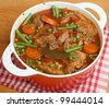 Navarin of lamb, French lamb stew, slow-cooked on the bone. - stock photo