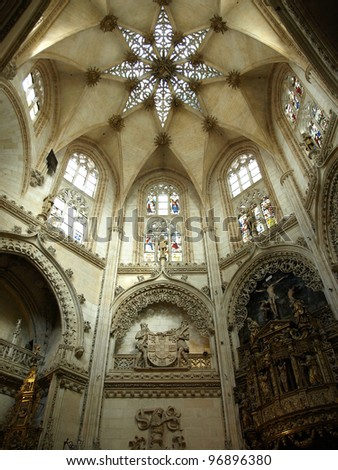 nave in the gothic cathedral of burgos / spain