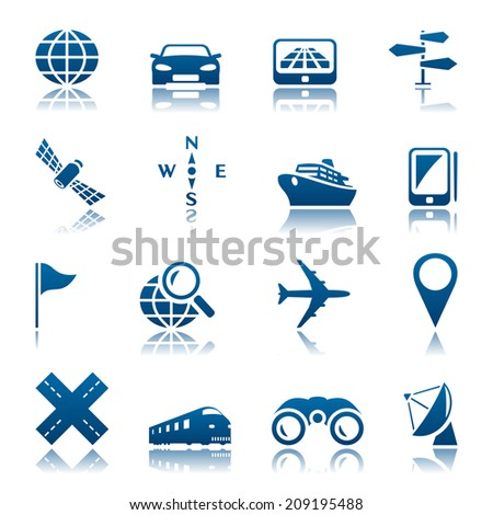 Navigation and transport icon set - stock photo