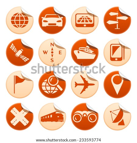 Navigation and transport stickers - stock photo