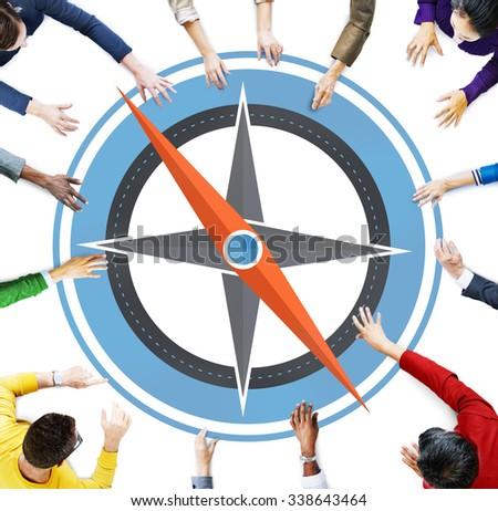 Navigation Compass Direction Exploration Guide Journey Concept - stock photo