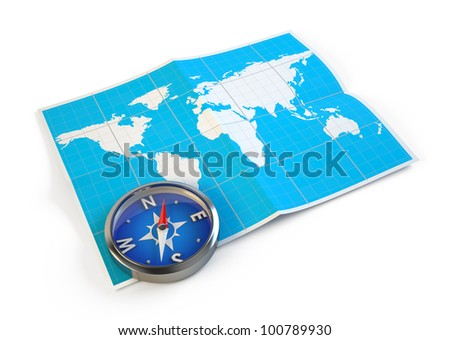 Navigation concept - Compass and world map - stock photo