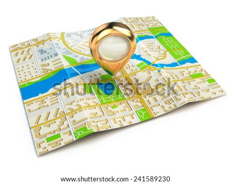 Navigation concept. GPS map of the city and golden pin. 3d - stock photo