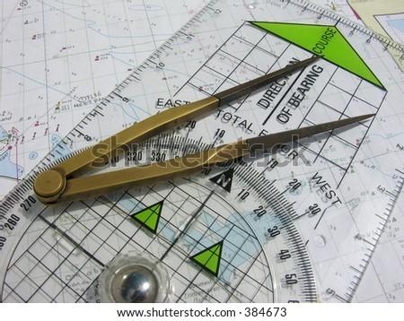 navigation course - stock photo