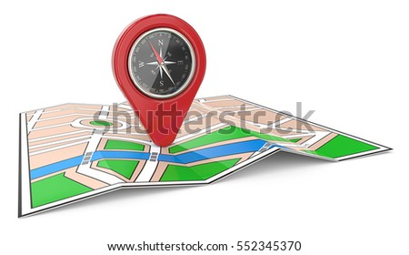 Navigation. 3D render of a Map with Red GPS Pointer and Compass.