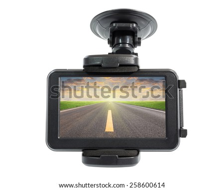Navigation devices and asphalt road in screen, clipping path include in file. - stock photo