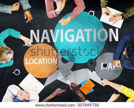 Navigation Direction Destination Travel Guide concept - stock photo