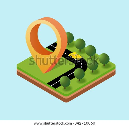 Navigation icon isometric plans, the direction of the pointer movement - stock photo
