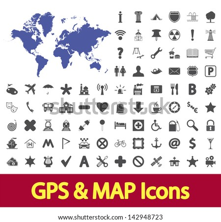 Navigation map icons set. Vector version also available in my portfolio.