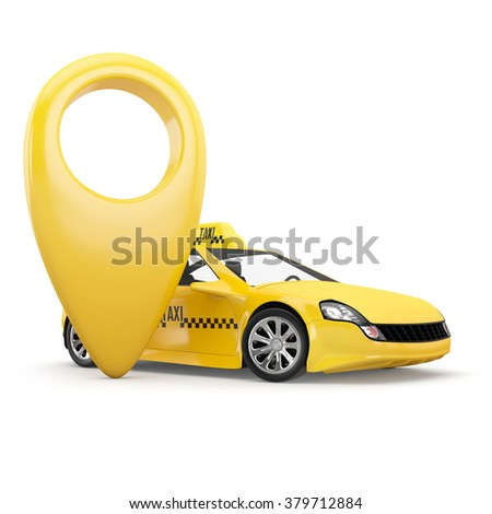 navigation pin pointer and yellow taxi on white background