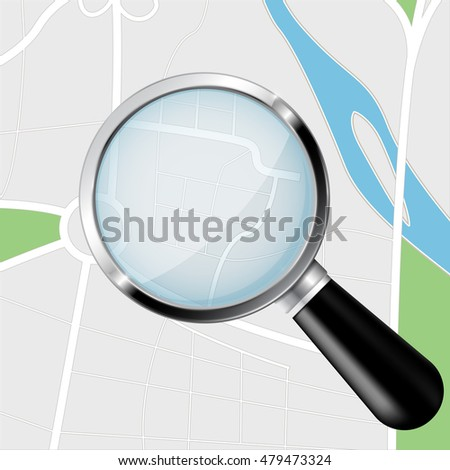 Navigation route with transparent magnifying glass. Illustration. Raster version