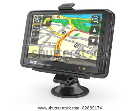 Navigation system. Gps on white isolated background. 3d - stock photo