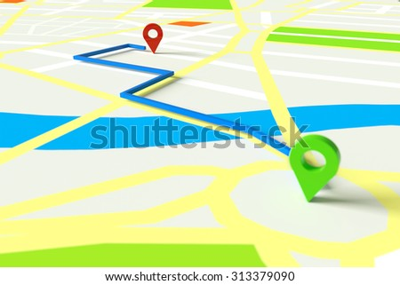 Navigation with GPS through city map with start and end marker (3D Rendering) - stock photo