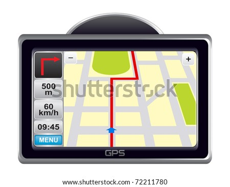 Navigator with map on the screen on white background