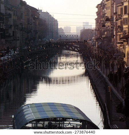 Naviglio river at Milan                    - stock photo