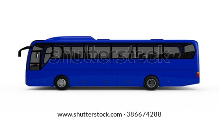Navy Blue big tour bus isolated on white background