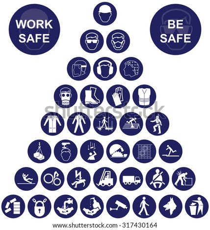 Navy blue construction manufacturing and engineering health and safety related pyramid icon collection isolated on white background with work safe message - stock photo