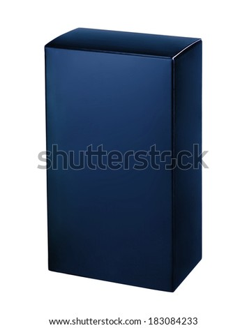 Navy blue cosmetic packaging box / studio photography of blue box for cosmetics - isolated on white background