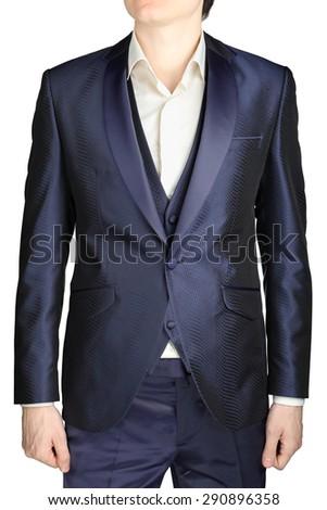 Navy blue mens wedding tuxedo, jacket suit, waistcoat, pants, white shirt without a tie, isolated over white background. - stock photo