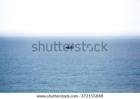 Navy blue ocean view background.