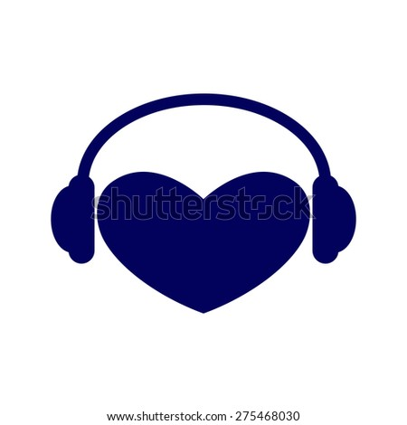 Navy colored heart with headphones on it isolated on white background. Music fan concept. Logo template, design element - stock photo