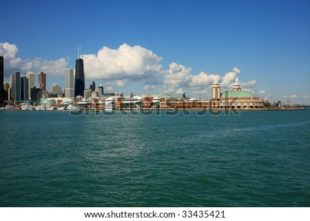Navy Pier and Lake Michigan in Chicago - stock photo