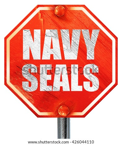 navy seals, 3D rendering, a red stop sign - stock photo
