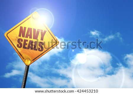 navy seals, 3D rendering, a yellow road sign - stock photo