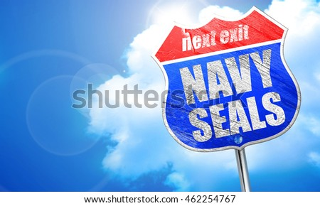 navy seals, 3D rendering, blue street sign