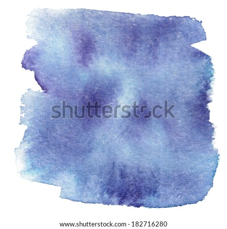 navy watercolor blotch on white background - stock photo