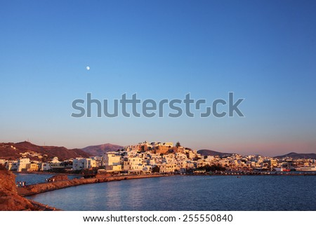 Naxos Old town at sunset, Greece. - stock photo