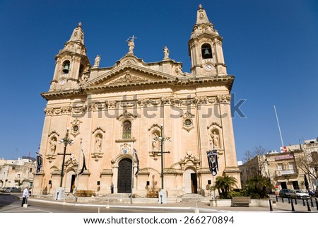 Naxxar, Malta - 2012, April 6 : The facade of the historic Our Lady of Victories parish church of Naxxar, a village in the north of Malta