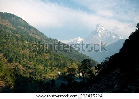 Nayapul, start of the Pooh Hill Trek Scene, Annapurna Range, Nepal - stock photo