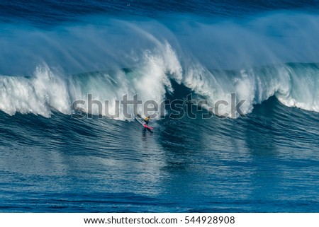 NAZARE, PORTUGAL - DECEMBER 20, 2016: Nic von Rupp (PRT) during the Nazare Challenge 2016 - Big Wave Tour #3 at Praia do Norte - Nazare, Portugal.