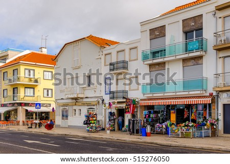 NAZARE, PORTUGAL - OCT 15, 2016: Promenade of Nazare, Portugal. It is one of the most popular seaside resorts in the Silver Coast (Costa de Prata)