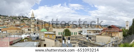 Nazareth city rooftop panoramic view, Israel