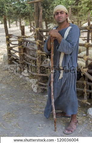 NAZARETH, ISRAEL - OCT 15 : Portrait of Palestinian shepherd with traditional clothing in October 15 2012 at Nazareth Village, historical re-creation of Nazareth as it was at the time of Christ