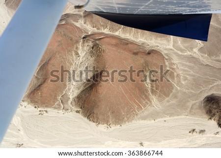 Nazca Lines, Aerial View, Peru, Astronaut - stock photo