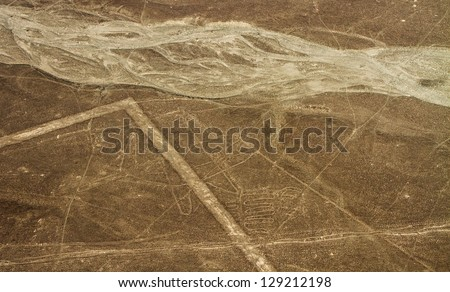 Nazca Lines, Aerial View, Peru, The Whale - stock photo