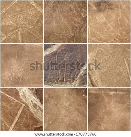 Nazca lines, Peru - Unesco Heritage (from top left: scorpion, monkey, sea bird, hand, giant, spider, whale, hummingbird, tree) - stock photo