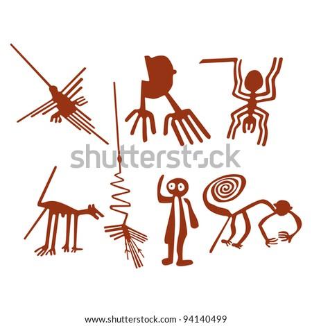 Nazca Lines Set - stock photo